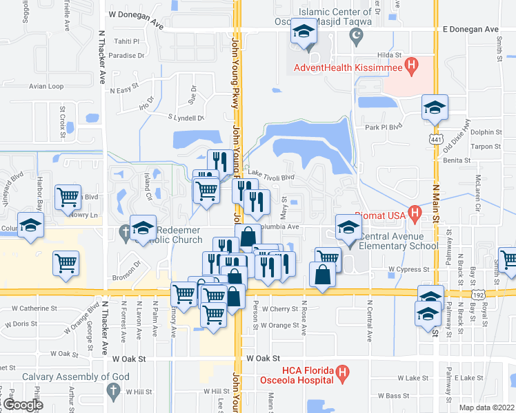map of restaurants, bars, coffee shops, grocery stores, and more near 1034 Spring Meadow Dr in Kissimmee