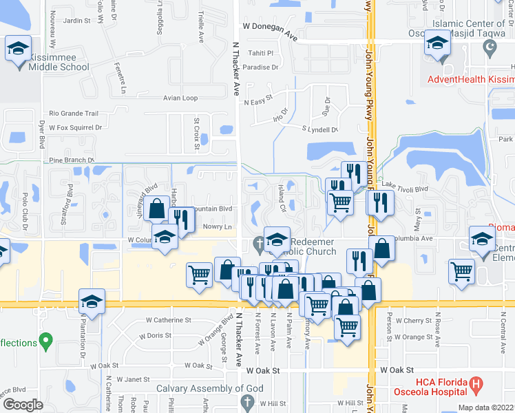 map of restaurants, bars, coffee shops, grocery stores, and more near 1915 Reef Club Dr in Kissimmee