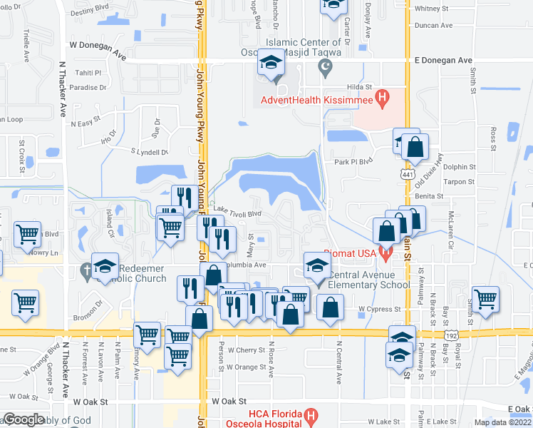 map of restaurants, bars, coffee shops, grocery stores, and more near 662 Lake Tivoli Boulevard in Kissimmee
