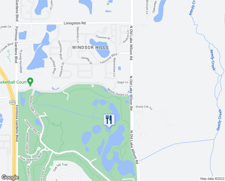 map of restaurants, bars, coffee shops, grocery stores, and more near Dunes Court in Four Corners