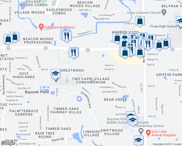 map of restaurants, bars, coffee shops, grocery stores, and more near James Joseph Way in Bayonet Point