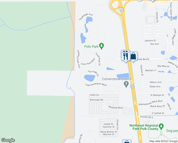 map of restaurants, bars, coffee shops, grocery stores, and more near 2000 East Palm Street in Davenport