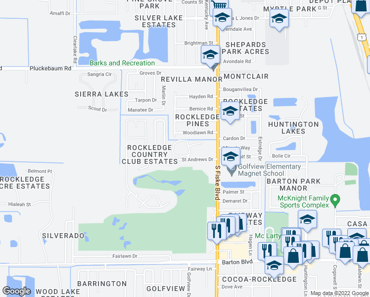 map of restaurants, bars, coffee shops, grocery stores, and more near 1330 Naples Circle in Rockledge