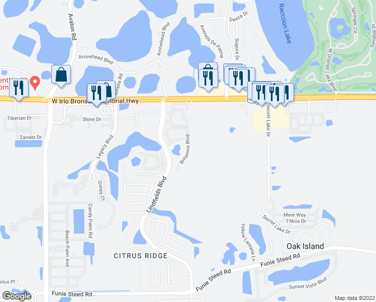 map of restaurants, bars, coffee shops, grocery stores, and more near 3155-3159 Britannia Boulevard in Kissimmee