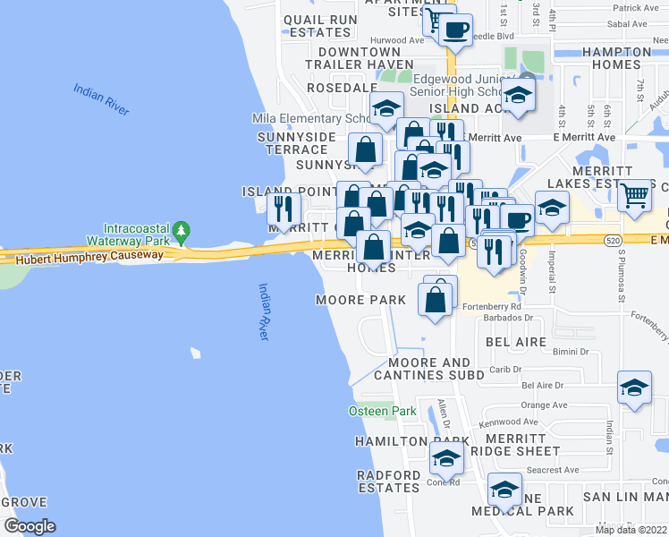 map of restaurants, bars, coffee shops, grocery stores, and more near 446 Magnolia Avenue in Merritt Island
