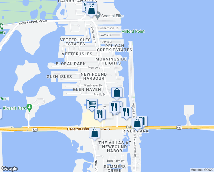 map of restaurants, bars, coffee shops, grocery stores, and more near 370 N Banana River Dr in Merritt Island