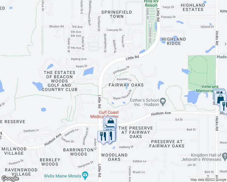 map of restaurants, bars, coffee shops, grocery stores, and more near 9033 Flagstick Lane in Hudson