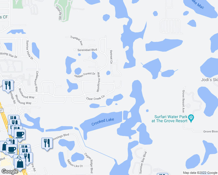 map of restaurants, bars, coffee shops, grocery stores, and more near 900 Clear Creek Circle in Clermont
