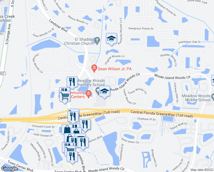 map of restaurants, bars, coffee shops, grocery stores, and more near 571-617 Rhode Island Woods Circle in Orlando
