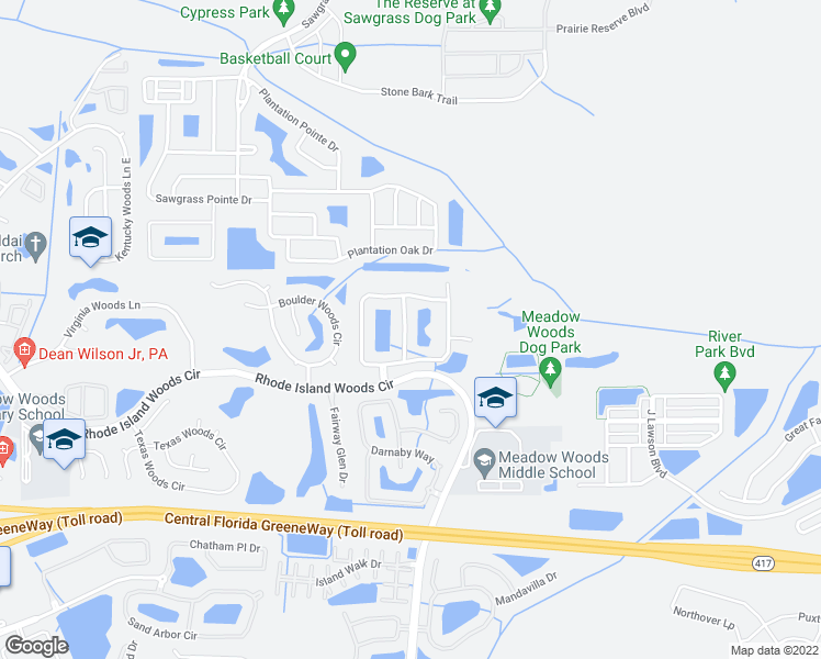 map of restaurants, bars, coffee shops, grocery stores, and more near 13207 Ashington Pointe