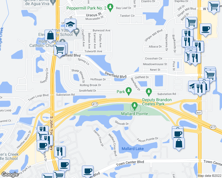 map of restaurants, bars, coffee shops, grocery stores, and more near 2567 Smithfield Drive in Orlando