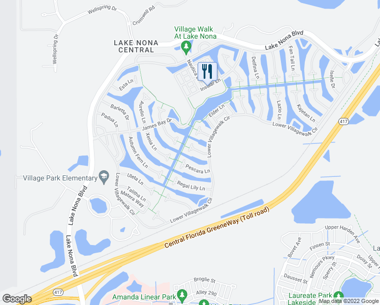 map of restaurants, bars, coffee shops, grocery stores, and more near 12226 Pasha Lane in Orlando