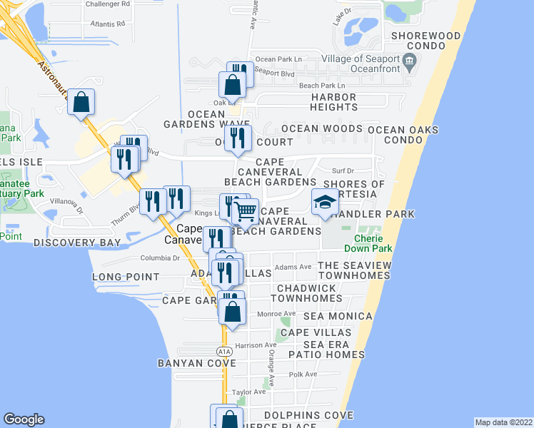 map of restaurants, bars, coffee shops, grocery stores, and more near 217 Canaveral Beach Boulevard in Cape Canaveral