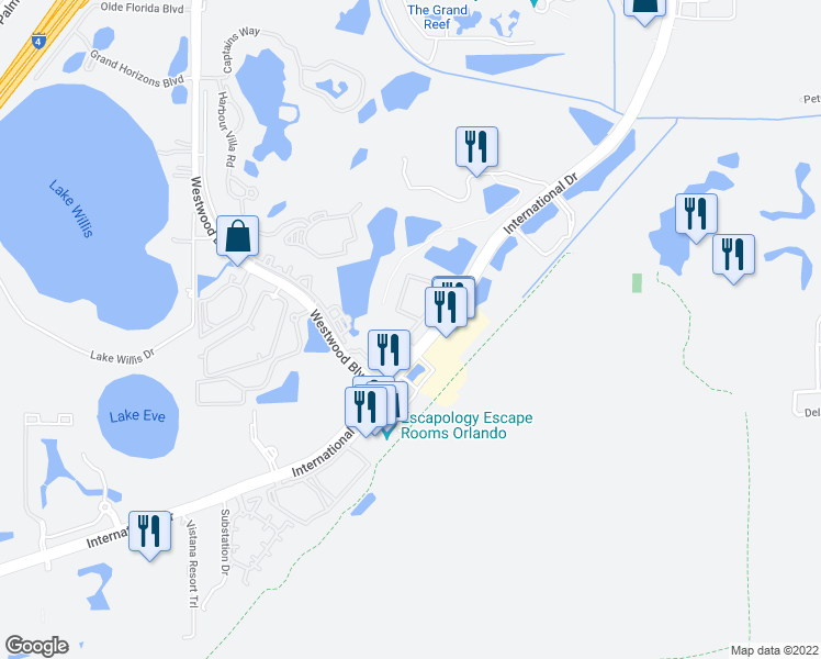 map of restaurants, bars, coffee shops, grocery stores, and more near 6529-6599 Tanglewood Bay Drive in Orlando