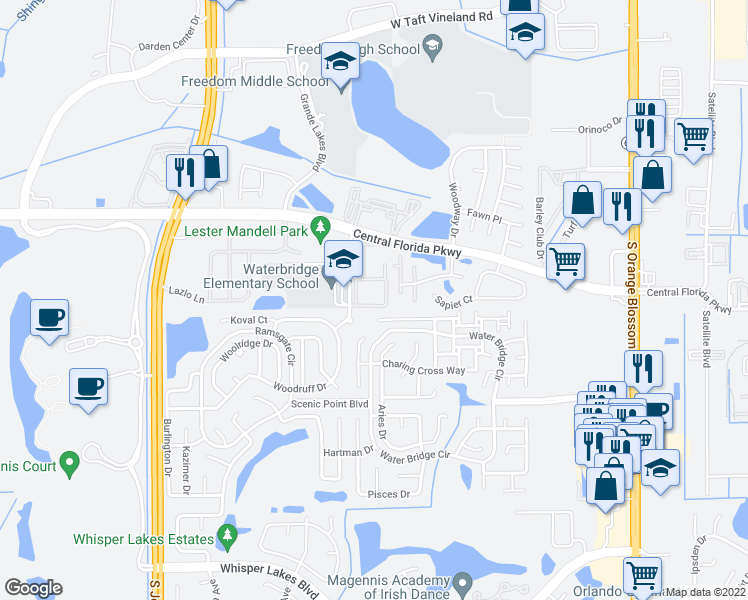 map of restaurants, bars, coffee shops, grocery stores, and more near 10861 Windsor Walk Dr in Orlando