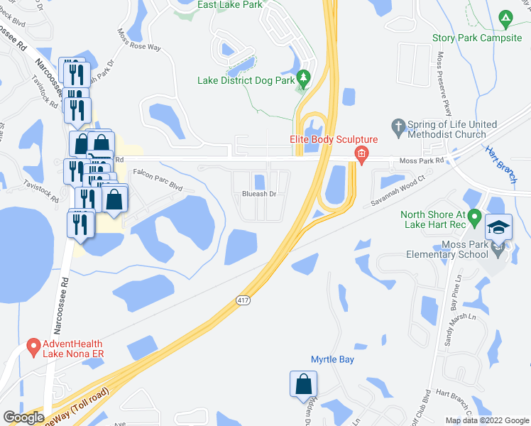 map of restaurants, bars, coffee shops, grocery stores, and more near 9531 Savannah Ainsley Ln in Orlando