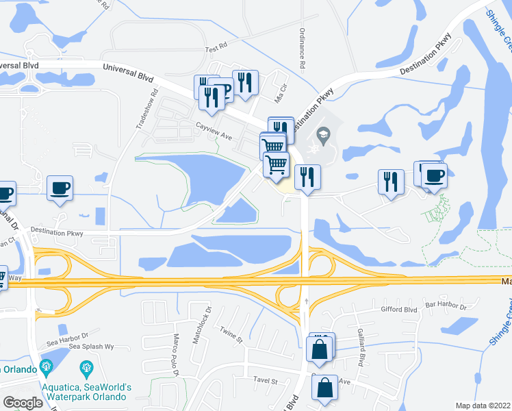 map of restaurants, bars, coffee shops, grocery stores, and more near 4102 Breakview Dr in Orlando