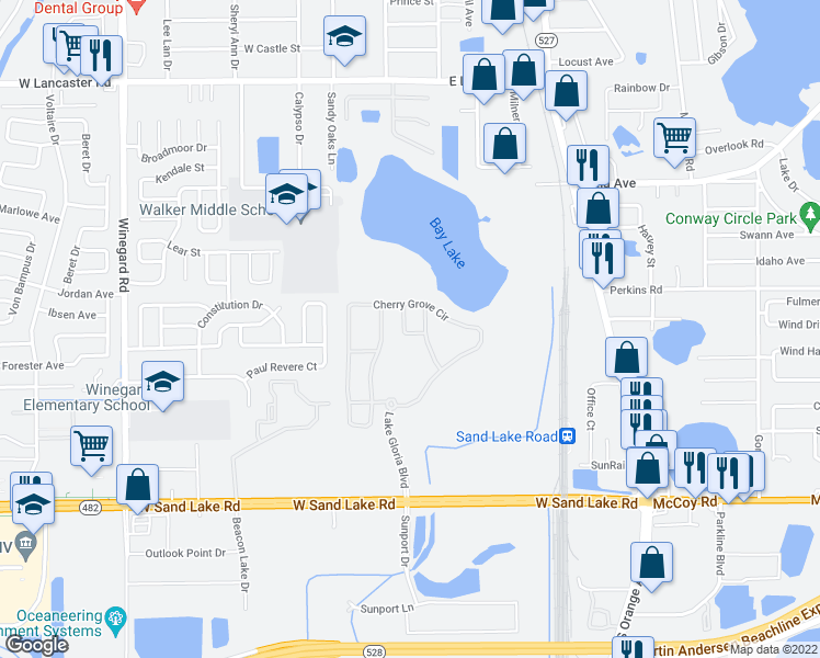 map of restaurants, bars, coffee shops, grocery stores, and more near 6646 Shadow Oak Ln in Orlando