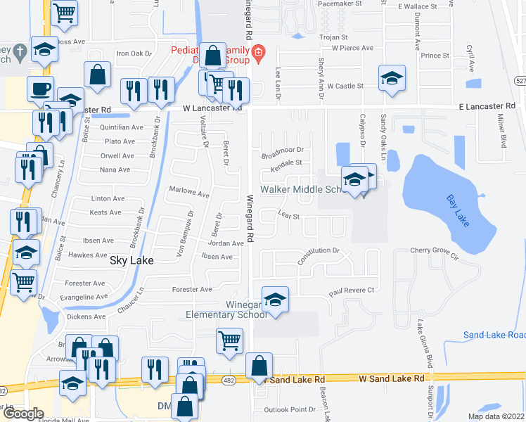 map of restaurants, bars, coffee shops, grocery stores, and more near 6720 Junius Avenue in Orlando