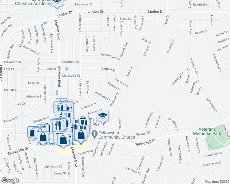 map of restaurants, bars, coffee shops, grocery stores, and more near 2238 Malaga Avenue in Spring Hill