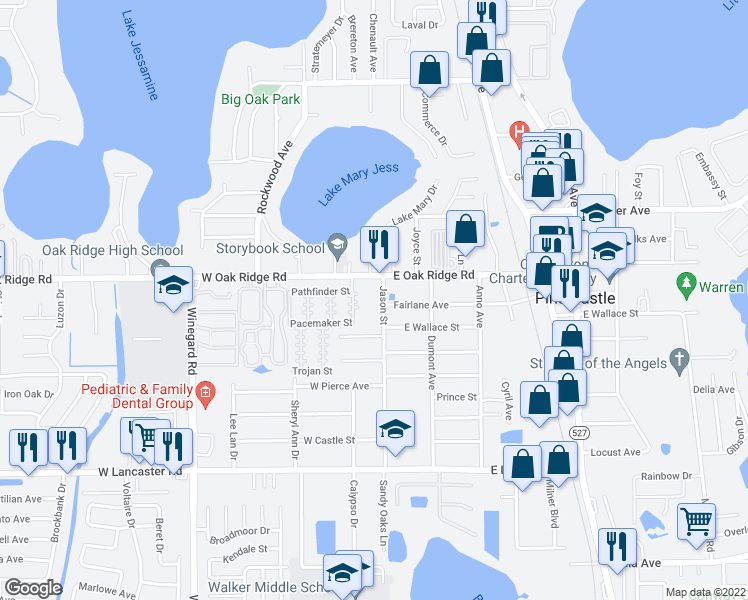 map of restaurants, bars, coffee shops, grocery stores, and more near 5924 Jason Street in Orlando