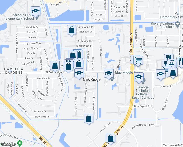 map of restaurants, bars, coffee shops, grocery stores, and more near 5900 Casa Del Rey Circle in Orlando