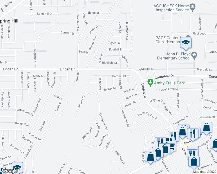 map of restaurants, bars, coffee shops, grocery stores, and more near 3041 Gloria Avenue in Spring Hill