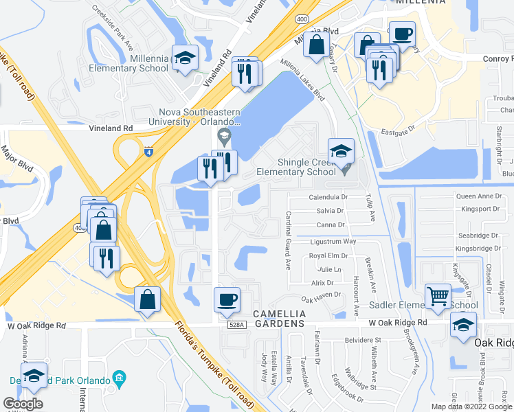 map of restaurants, bars, coffee shops, grocery stores, and more near 5000 Millenia Blvd in Orlando