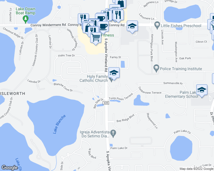 map of restaurants, bars, coffee shops, grocery stores, and more near 5101-5185 County Road 435 in Orlando