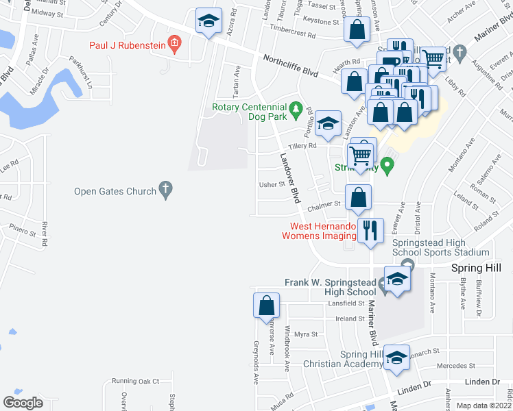 map of restaurants, bars, coffee shops, grocery stores, and more near 3455 Jason Road in Spring Hill