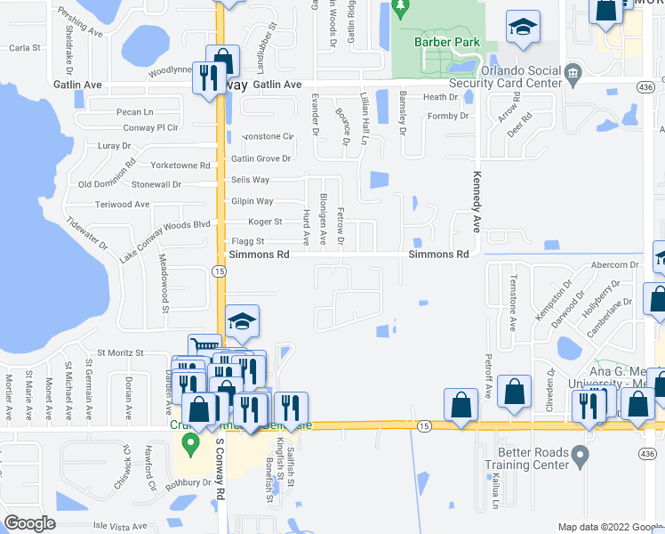 map of restaurants, bars, coffee shops, grocery stores, and more near 4521 Blonigen Ave in Orlando