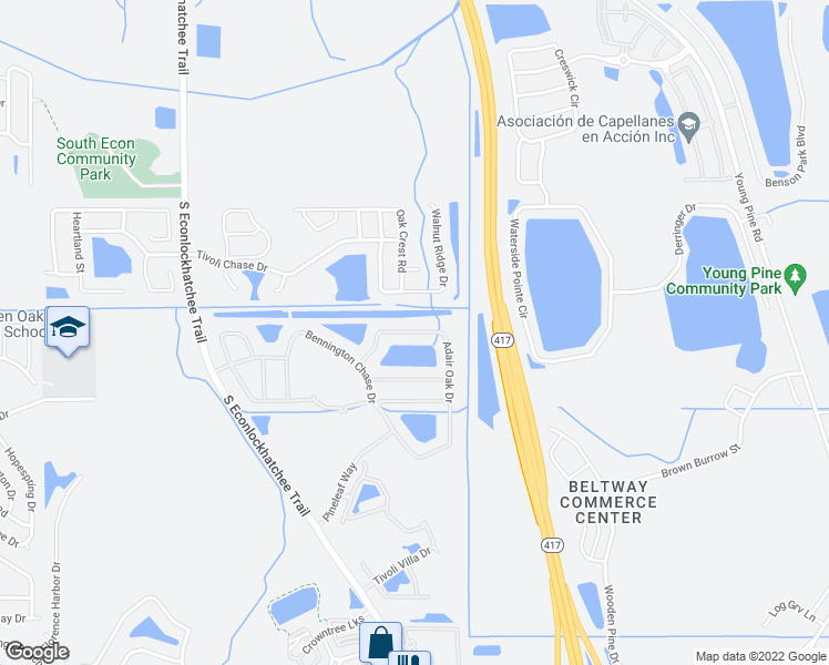 map of restaurants, bars, coffee shops, grocery stores, and more near 4919 Adair Oak Dr in Orlando