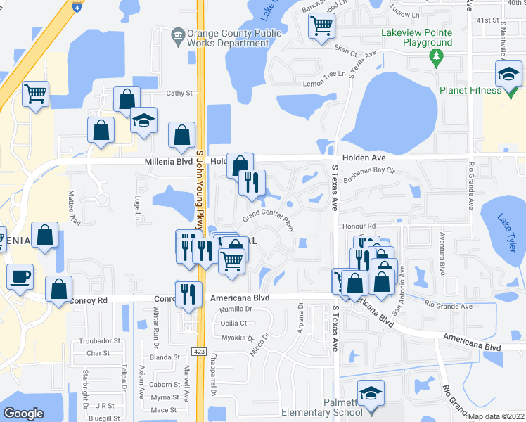 map of restaurants, bars, coffee shops, grocery stores, and more near 2532 Grand Central Parkway in Orlando
