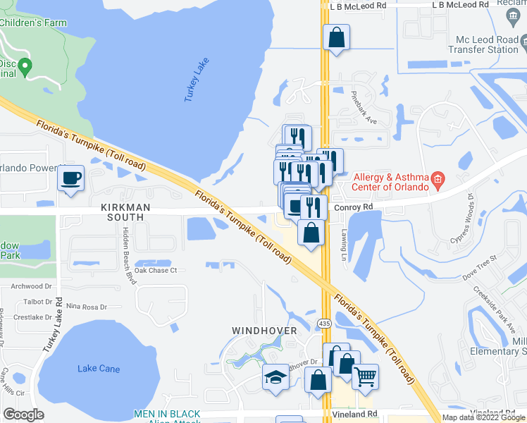 map of restaurants, bars, coffee shops, grocery stores, and more near Conroy Rd in Orlando