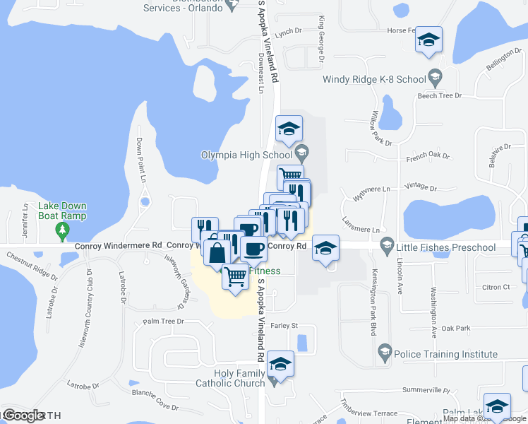map of restaurants, bars, coffee shops, grocery stores, and more near 4649-4781 South Apopka Vineland Road in Orlando