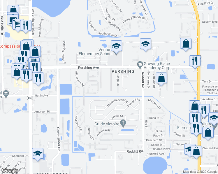 map of restaurants, bars, coffee shops, grocery stores, and more near 3114 Catherine Wheel Court in Orlando