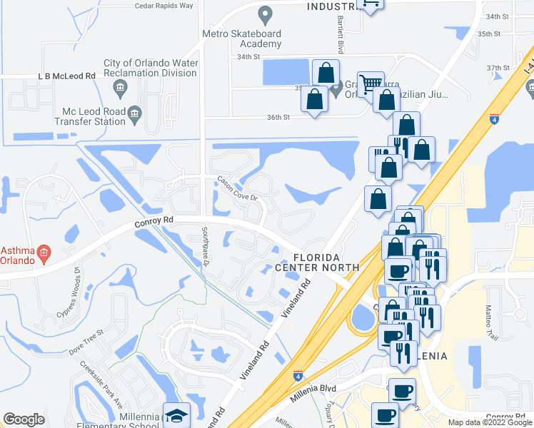 map of restaurants, bars, coffee shops, grocery stores, and more near 4605 Cason Cove Drive in Orlando