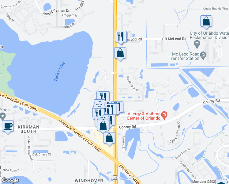 map of restaurants, bars, coffee shops, grocery stores, and more near S Kirkman Rd in Orlando