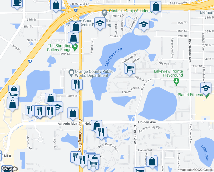 map of restaurants, bars, coffee shops, grocery stores, and more near 4337 Aqua Vista Dr in Orlando