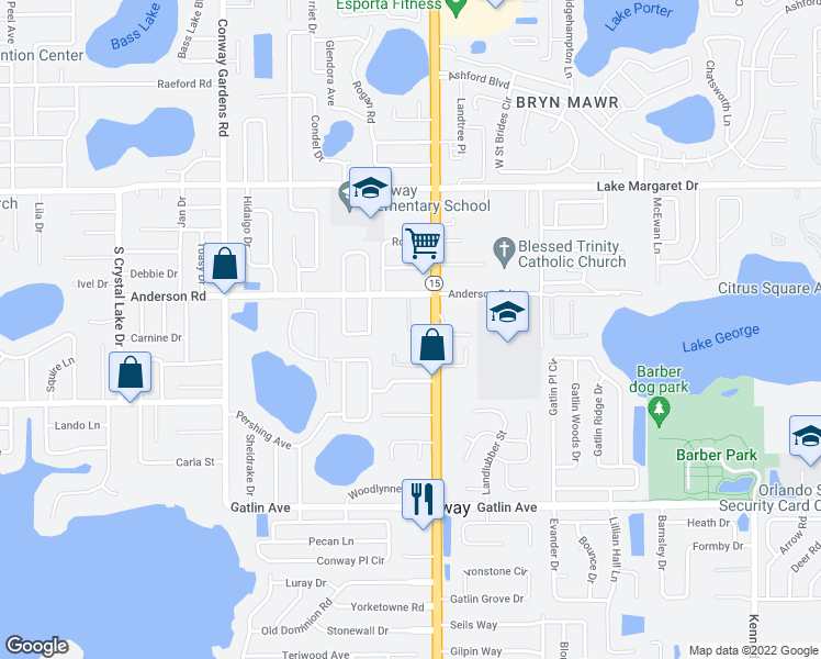 map of restaurants, bars, coffee shops, grocery stores, and more near 3418 South Conway Road in Orlando