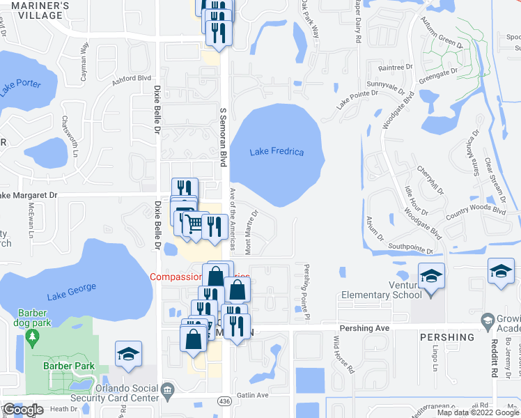 map of restaurants, bars, coffee shops, grocery stores, and more near 5757 5 Flags Boulevard in Orlando