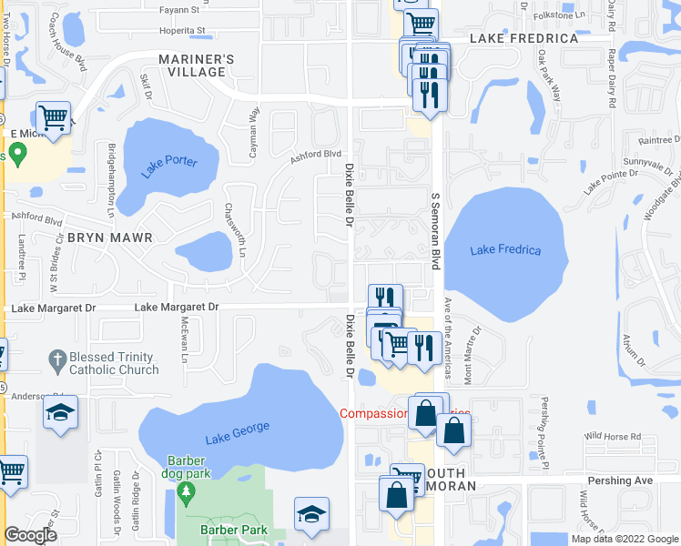 map of restaurants, bars, coffee shops, grocery stores, and more near 5461 Lake Margaret Drive in Orlando