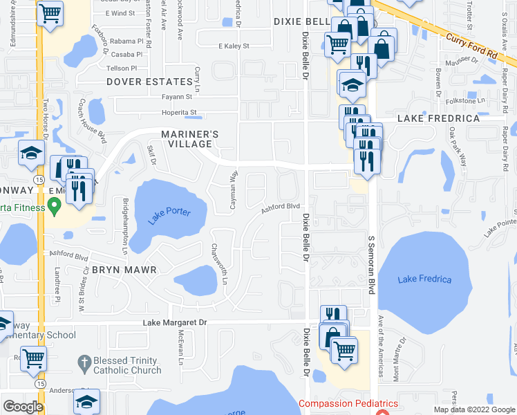 map of restaurants, bars, coffee shops, grocery stores, and more near 5304 Alcom Drive in Orlando