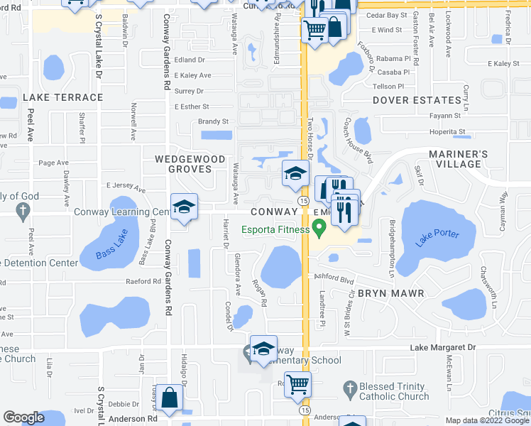 map of restaurants, bars, coffee shops, grocery stores, and more near 2700 Bolder Ln in Orlando