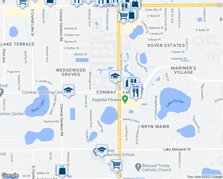 map of restaurants, bars, coffee shops, grocery stores, and more near 4377 East Michigan Street in Orlando