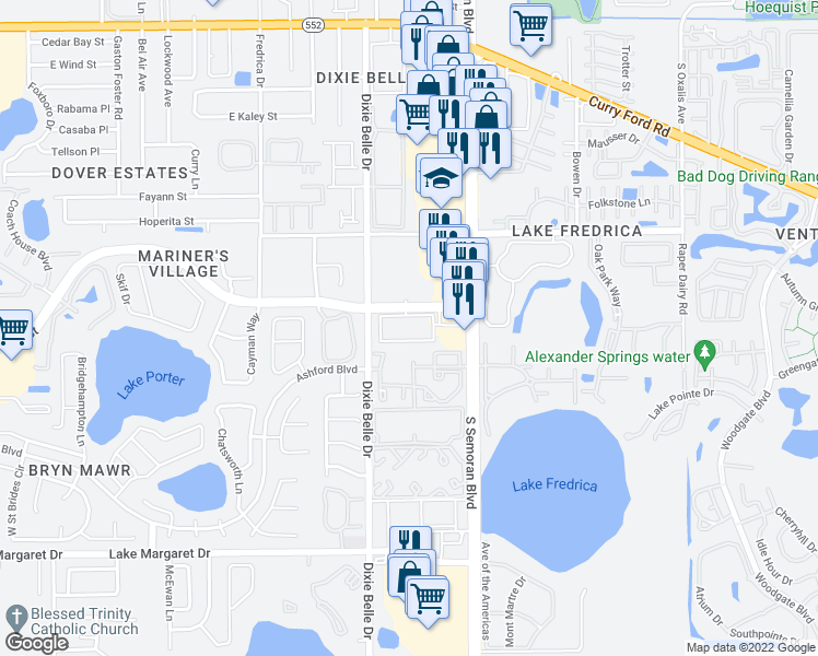 map of restaurants, bars, coffee shops, grocery stores, and more near 5610 East Michigan Street in Orlando