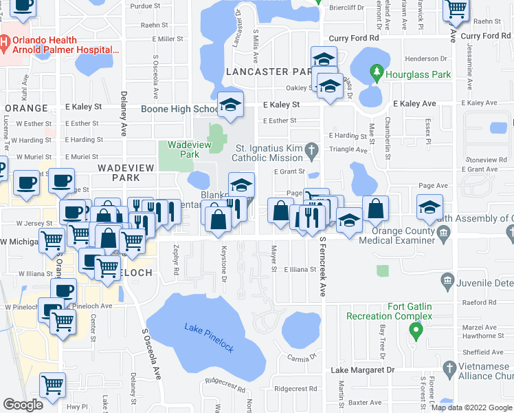 map of restaurants, bars, coffee shops, grocery stores, and more near 1000-1098 East Crystal Lake Avenue in Orlando