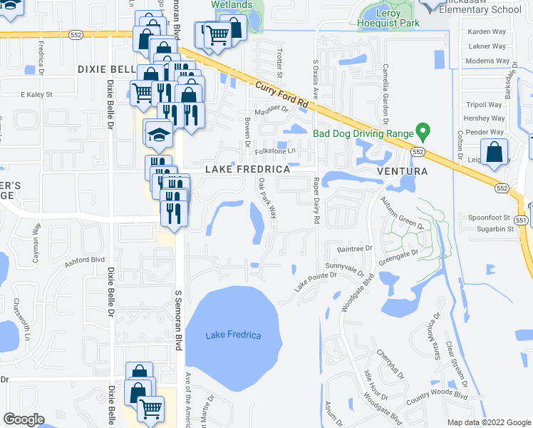 map of restaurants, bars, coffee shops, grocery stores, and more near 2728 Oak Park Way in Orlando