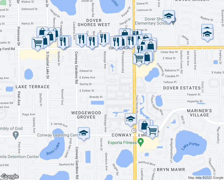 map of restaurants, bars, coffee shops, grocery stores, and more near 1938 South Conway Road in Orlando