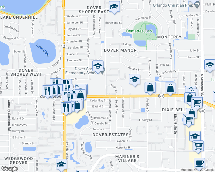 map of restaurants, bars, coffee shops, grocery stores, and more near 1448 Adriel Lane in Orlando